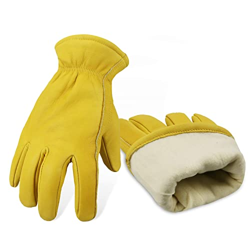 Size XL, Yellow, CB9501F Vgo 3 Pairs 0 ℃ //32 ℉ or above 3M Thinsulate C40 Lined Winter Cowhide Split Leather Work and Driver Gloves For Heavy Duty//Truck Driving//Warehouse//Gardening//Farm//Cold Storage Working Gloves