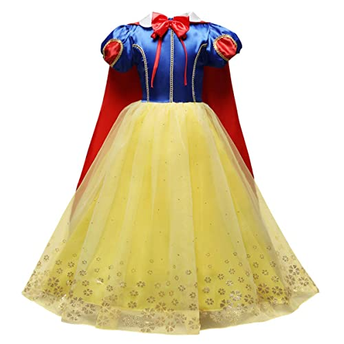 IMEKIS Kid Baby Girls Snow White Dress Princess Fairy Costume Halloween Christmas Carnival Cosplay Fancy Dress Up Flower Girl Sequins Tulle Tutu Outfit Birthday Party Pageant Ball Gown