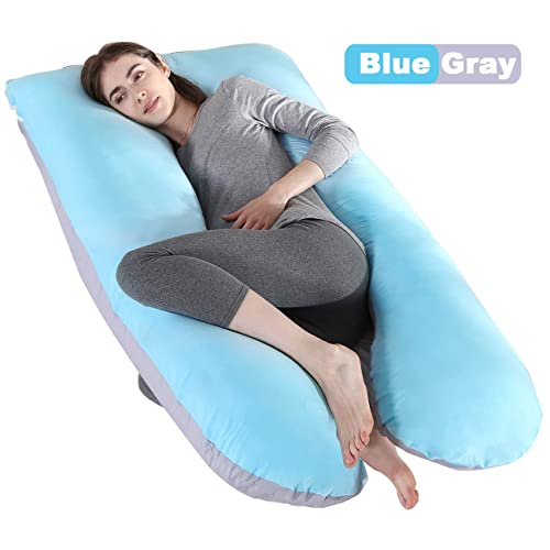 U Shaped Full Body Maternity Pregnant Pillows for Pregnant Women Sleeping,Blue Cepheus Pregnancy Body Pillows with Velvet Cover
