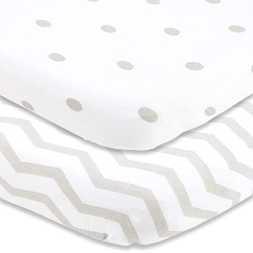Durable and Made to Last Fitted for The Chicco Lullago 32x19 Portable Travel Bassinet Set of 2 Baby Bassinet Sheets 100/% Woven Cotton for Comfort and Protection Pink//Gray