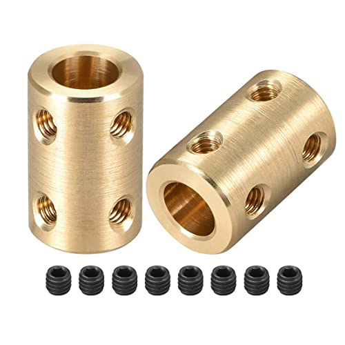 uxcell Shaft Coupling 8mm to 8mm Bore L22xD14 Robot Motor Wheel Rigid Coupler Connector Silver Tone 2 Pcs