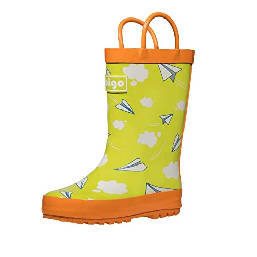 hibigo Childrens Natural Rubber Rain Boots with Handles Easy for Little Kids /& Toddler Boys Pattern /…