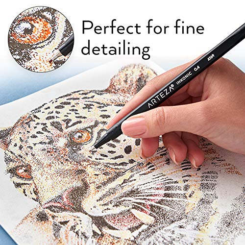 Set of 48 Colours Non-Toxic 0.4 mm Tips Arteza Inkonic Fineliner Pens Water-Based Fine Liner Coloured Pens for Drawing Details /& Mixed Media Art