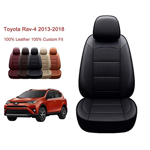 BeHave Autos Car Leather Seat Covers Only Fit for Toyota RAV4 Hybrid 2016 2017 2018,Auto Full Set Seat Cushion Protector 4pcs Saddle Cover,4pcs Back Cover,5pcs Headrest Cover Brown