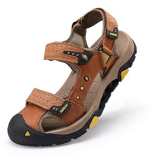 GRITION Mens Sandals Suede Water Sandal Protective Closed Toe Walking Sandals Adjustable Strap for Summer