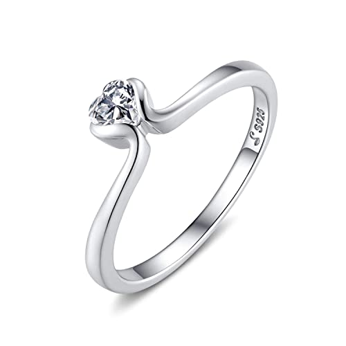 Qings Eternity Promise Ring 925 Sterling Silver Cz Heart