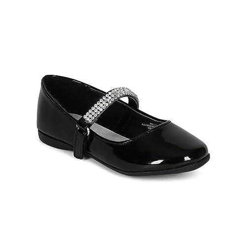 Toddler//Little Girl Silver Metallic Leatherette Round Toe Rhinestone Mary Jane Ballerina Flat CA07