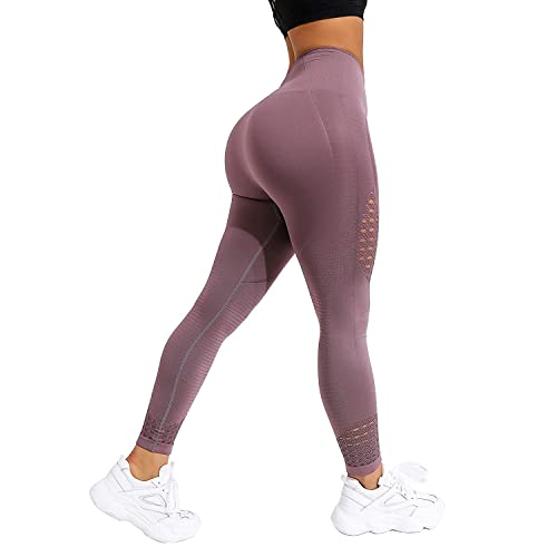FITTOO Women High Waist Hollow Out Lace Patchwork Slim Yoga Pants Fitness Gym Workout Leggings