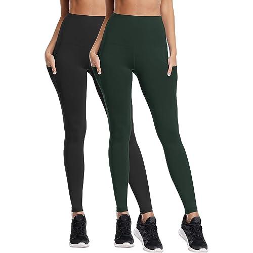 Cadmus Womens High Waist Yoga Leggings,Tummy Control,Workout Pants for Women w Side Pockets