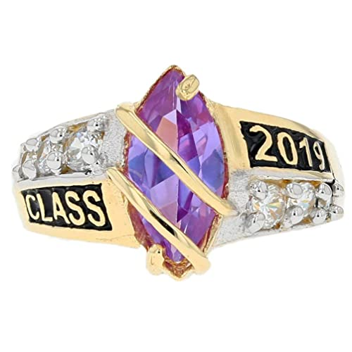 10k or 14k Solid Gold Simulated May Birthstone Class of 2019 Graduation Ring