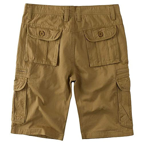 SAOVERE Cargo Shorts Zipper Pocket for Men Cotton Casual Relaxed Fit Multi-Pocket Big and Tall