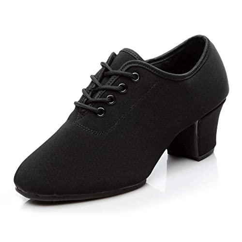 HIPPOSEUS Women Latin Dance Shoes lace-up Closed-Toes Black Modern Dance Shoes Outdoor,Model NJB701