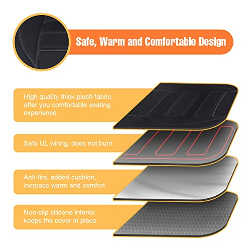 Tvird Car Heated Seat Cushion 12V Auto Comfortable 2 Pack New Upgraded Version for Winter in 2019 Black 4350394521