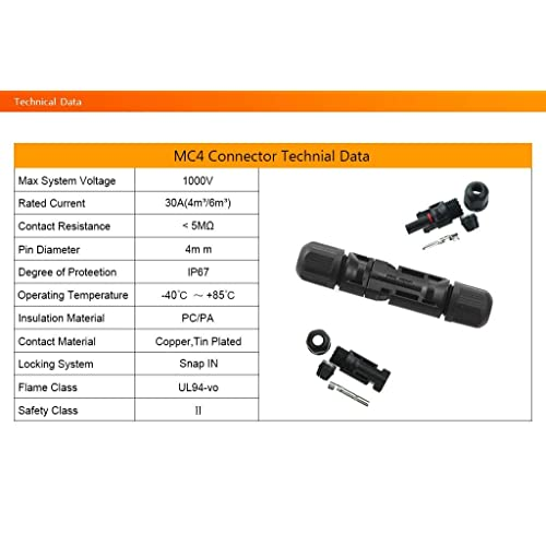 VIKOCELL 5 Pairs PV Solar Panel Cable MC4 Connectors Male Female Waterproof IP67 for Photovoltaic Solar System