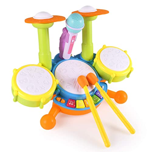 MUSICUBE Kids Drum Set 8-Inch Wooden Drum Toys with an Adjustable Strap and 2 Drumsticks Educational Baby Musical Toys Drum Sensory Musical Instrument Toys for Toddler Boys /& Girls Gift Packing