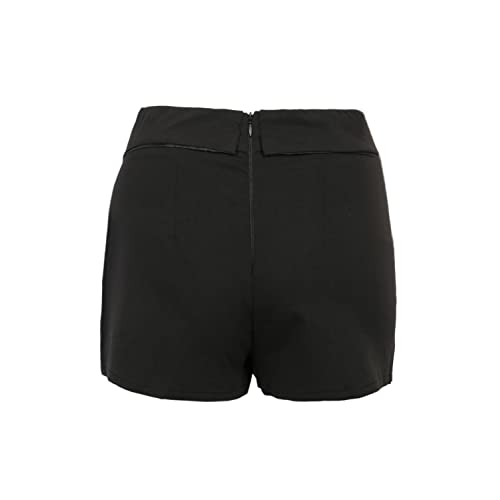 Womens Asymetric Hem Tulip Plain Mid Waist Skorts Mini Skirt Shorts