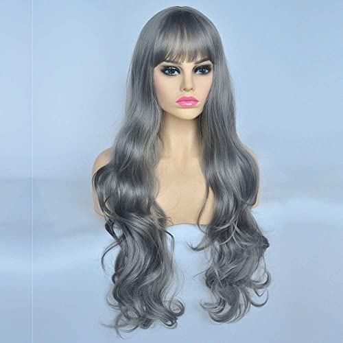 YOGFIT Lina Womens Long Straight Costume Wig with Bangs for Halloween Cosplay Party Silver Grey