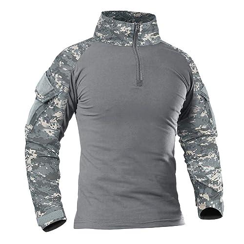 KEFITEVD Mens Long Sleeve Polo Shirts Military Work Tops Button Down Army Safari T-Shirt with Zipper Pocket