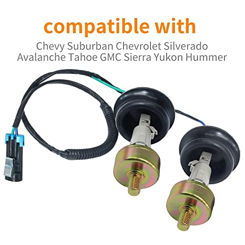 Set of 2 KS116 Knock Sensor 10456603,12575869,12589867,12597415,8104566030 with 12601822 917-033 Harness Wire For Chevy GMC Silverado Cadillac