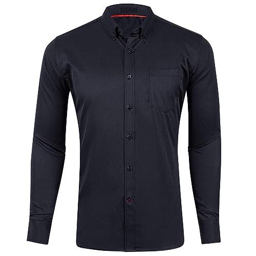 Marquis Mens Slim Fit Solid Sapphire Blue Cotton Blend Dress Shirt