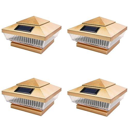 8 Pack Silver Outdoor Garden 4 x 4 Solar 5-LED Post Deck Cap Square Fence Light Landscape Lamp Lawn PVC Vinyl Wood