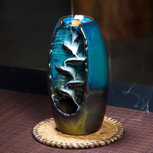 Comeon Handcraft Ceramic Blue Waterfall Backflow Incense Burner Incense Holder Home Tea-House Keep Healthy Decor Aromatherapy Ornament+10 Cone Incense Free