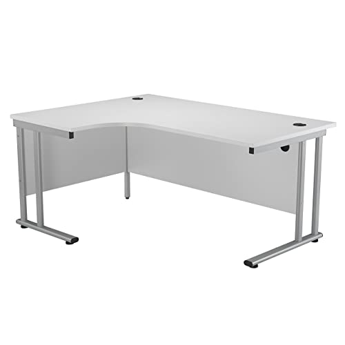 Wood Silver Frame Oak Office Hippo Professional Left Corner Office Desk 160 x 120 x 73 cm