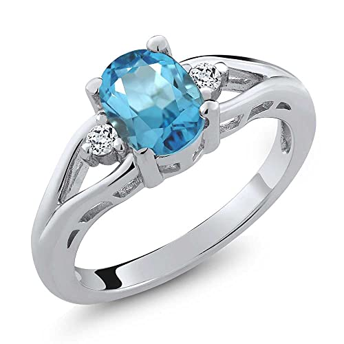 2.25 Carat Genuine Blue Topaz and White Topaz .925 Sterling Silver Ring