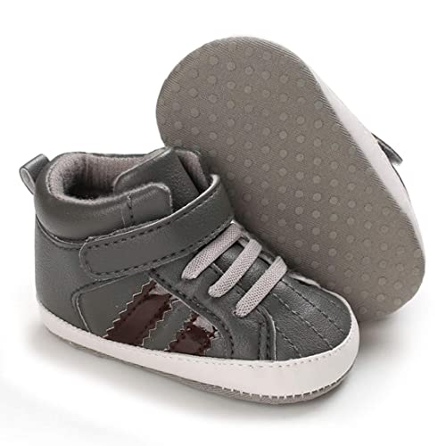 Sawimlgy Infant Baby Boy Girl Canvas Sneakers Glitter Anti-Slip Sole High-Top Sporty Walking Shoes Toddler First Walkers Ankle Crib Shoes 0-18 Months