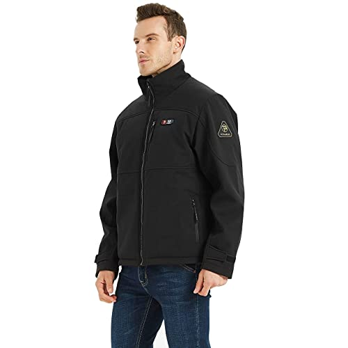 Includes 7.4V Battery Pack PTAHDUS Men/'s Heated Jacket Soft Shell Heated Performance Jacket Soft Shell with Hand Warmer