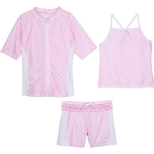 SZISSSHORTSET3PC01 SwimZip Girls Short Sleeve Rash Guard Swim Shorts Set with UPF 50