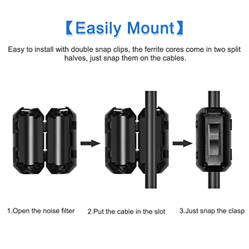 Roctee 12 Pcs Ferrite Choke Snap On Noise Suppressor Cable Clip Electronic Ferrites Core for 3.5MM Diameter Wire Black EMI RFI Noise Filter Cable Ring