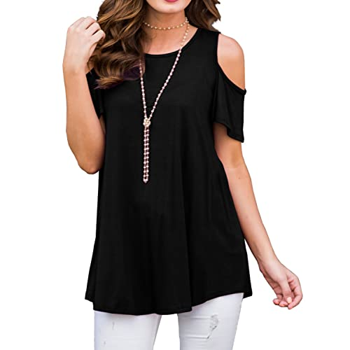 c58ccdf3c1ee39 Buy PrinStory Women's Short Sleeve Casual Cold Shoulder Tunic Tops Loose  Blouse Shirts with Ubuy Kuwait. B078TNM2KV