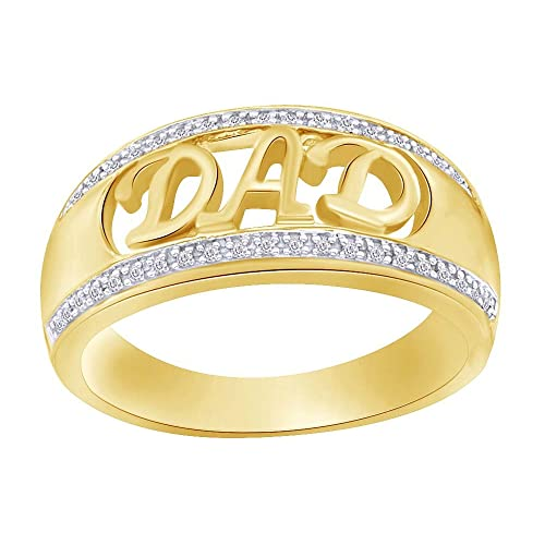 Wishrocks Round Cut Black /& White Diamond Mens Dad Ring in 14K Gold Over Sterling Silver 1//10 Cttw