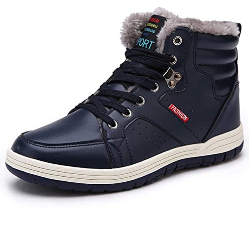SILENTCARE Mens Warm Snow Boots Anti-Slip Lightweight Ankle Boot Fur Lined Waterproof Winter Shoes