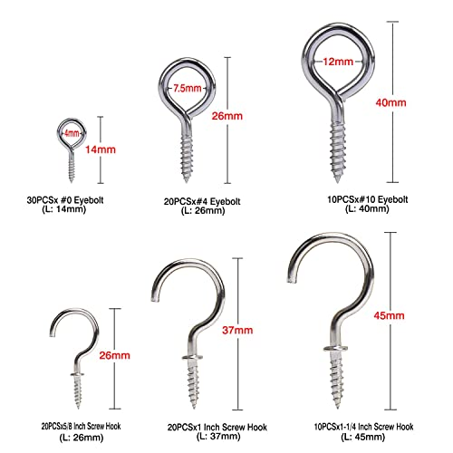 HSEAMALL 110PCS Screw Hooks Nickel Plated Cup Hooks,Metal Screw-in Ceiling Hook,Mug Shouldered Cup Hooks,Eye Bolts Hook for Hanging