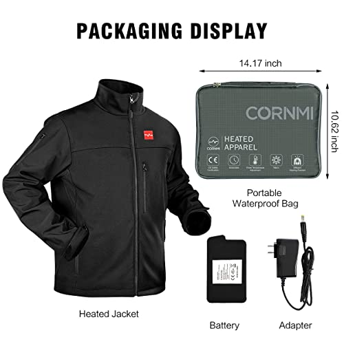 CORNMI Mens Soft Shell Heated Jacket with Detachable Battery Pack