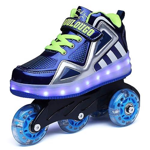 Skybird-UK Unisex Kids LED Wheel Roller Skate Shoes High Top Retractable Technical Skateboarding Sport Outdoor Flashing Gymnastics Sneaker for Boys Girls