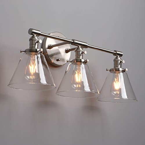 3 Lights Wall Lamp With Switch Globe Clear Glass Shade Bathroom Edison Bulb Lamps E27 Socket