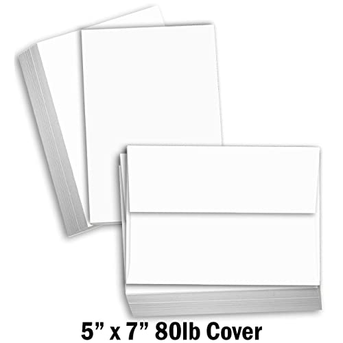 """50 x 5/"""" x 7/"""" WHITE BLANK GREETINGS CARDS WITH ENVELOPES"""