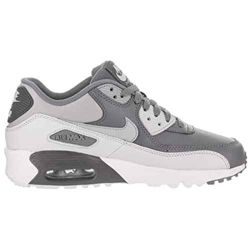 GS Boys/' Nike Air Max 90 Leather Shoe 833412-013 COOL GREY//WOLF GREY-PURE PLAT