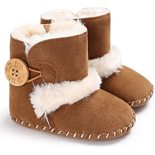 M: 6~12 Months,Khaki2 LIVEBOX Prewalker Toddler Boots Premium Soft Anti-Slip Sole Warm Winter Boots for Infant Baby Girls