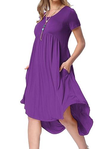 6c43c279df levaca Women s Scoop Neck Pockets High Low Pleated Loose Swing Casual Midi  Dress