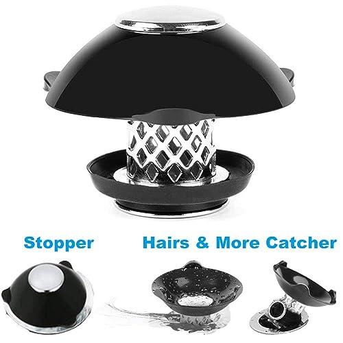Black,1PCS Yofidra Bathtub Stopper Drain Hair Catcher 2-in-1,Prevent Hair Clogs