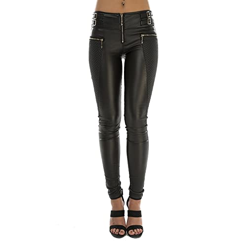 ladies stretchy skinny high waist Trousers leggings Leather look front  UK 6-14