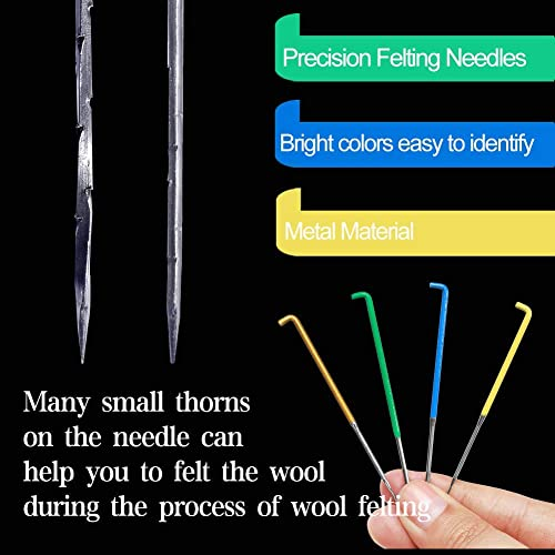 Great for DIY Felting Wool Projects Fingercots 30 PCS Felting Needles,3 Sizes Wool Felting Needles with Needle Felting Tool Wooden Handle