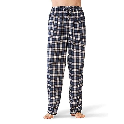 SIORO Mens Flannel Pants Cotton Pajama Bottoms Long Sleep Lounge Pants with Pockets