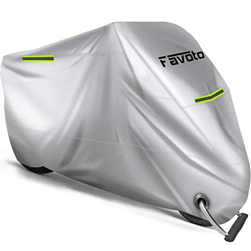 Favoto Motorcycle Cover All Season Universal Weather Waterproof Sun Outdoor Protection Windproof Durable Night Reflective with Lock-Holes /& Storage Bag Fits up to 245cm Motorcycles Vehicle Cover