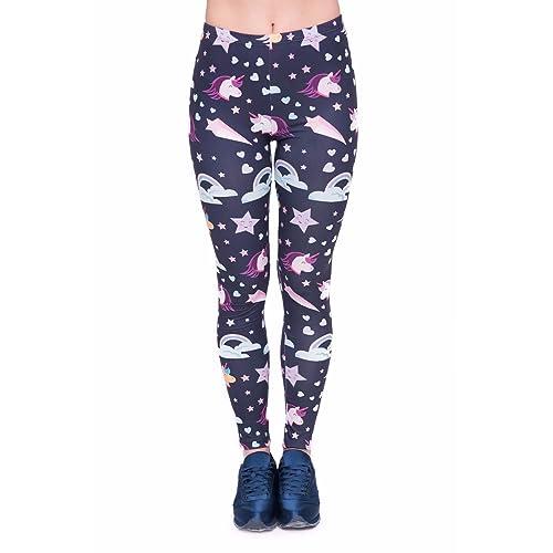 Kukubird Unicorn Pink//Blue Womens Ladies Yoga Fitness Stretch Fit Leggings//Pants