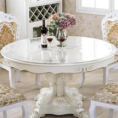 Buy Royhom 42 Round Crystal Clear Table Protector For Dining Room Table Non Slip Plastic Tablecloth Cover Vinyl Protective Pad Circle Online In Kuwait B07tr5svj2